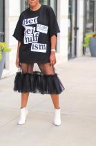 Casual Letter Short Sleeve Round Neck Mesh Patchwork T-shirt Dress LML146