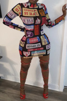 Casual Plate Number Graphic Long Sleeve All Over Print Mini Dress LML145