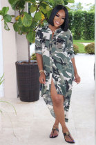 Casual Polyester Camo Long Sleeve Button Front Shirt Dress R6328