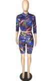 Casual Tie Dye Zipper Long Sleeve Crop Top Shorts Sets LYY9265