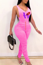 Sexy Cotton Blend Letter Mouth Graphic Sleeveless Cold Shoulder Ruffle Bodycon Jumpsuit T3432