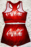 Sporty Sexy Polyester Printed Sleeveless Round Neck Crop Top Shorts Yoga suit Sets SDD9432
