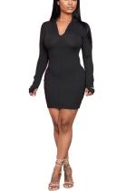 Casual Pure Color Elegant Long Sleeve V Neck Pencil Skirt