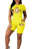 Round Collar T-Shirt Straight Shorts Printed Ladies Leisure Suits LM9088