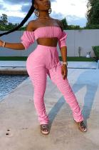 Sexy Pure Color Long Sleeve Crochet Off Shoulder Pants Sets