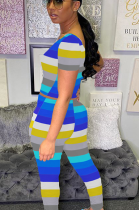 Casual Scoop Neck Short Sleeve Striped Bodycon Jumpsuit