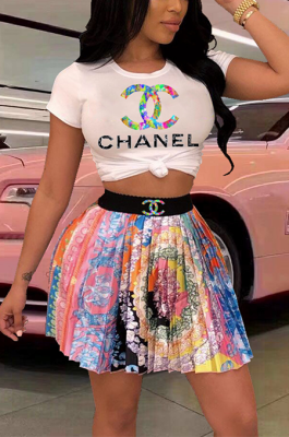 Casual Cute Luxe Pop Art Print Short Sleeve Pleated Skirts Sets