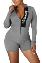 Casual Sporty Stand Collar Long Sleeve Pop Art Print Bodycon Jumpsuit