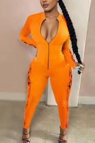 Sexy Cotton Blend Pure Color Long Sleeve Bodycon Zipper Front Jumpsuit CM775