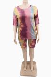 Casual Cute Multi Basics Short Sleeve Round Neck Shorts Sets
