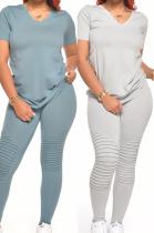 Casual Basics Pure Color Sporty V Neck Short Sleeve Pants Sets