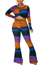 Modest Sexy Elegant Long Sleeve Striped Flare Leg Pants