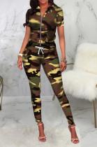 Casual Camo Short Sleeve Stand Collar Elastic Waist Utility Blouse Long Pants Sets SMR9751