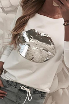 Casual Modest Simplee Mouth Graphic Round Neck Long Sleeve T Shirts