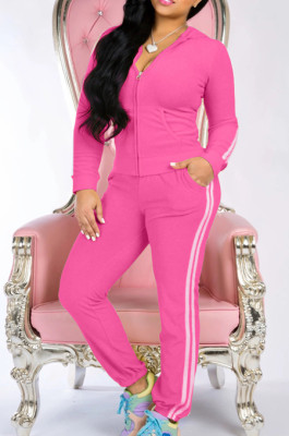 Casual Sporty Cotton Blend Pure Color Long Sleeve Zipper Front Slant Pocket Hoodie Sets Ninth Pants X9256