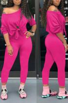 Fashion Cotton Long Sleeve Off Shoulder Knotted Strap Crop Top Long Pants Sets X9191