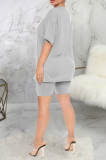 Casual Letter Short Sleeve Round Neck Tee Top Shorts Sets SMR9689