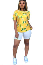 Yellow Casual Polyester Short Sleeve Round Neck Tee Top YY5035