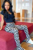 Polyester Leopard Ruffle Mid Waist Flare Leg Pants WM826