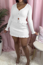 Casual Polyester Long Sleeve V Neck Utility Blouse Above Knee / Short Skirt QY0322