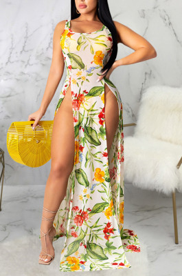 Multi Casual Floral Sleeveless Round Neck Split Hem Long Dress SMR9680