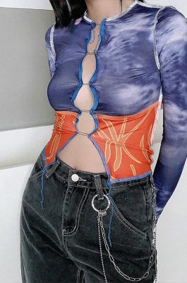 Casual Sexy Tie Dye Long Sleeve Spliced Round Neck Crop Tops