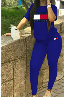 Sexy Polyester Short Sleeve Round Neck Tee Top Sweat Pants Sets QY0500