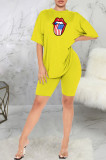 Casual Mouth Graphic Short Sleeve Round Neck Tee Top Shorts Sets SMR9689