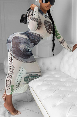 Modest Sexy Cute Long Sleeve Dollar Graphic Bodycon Jumpsuit