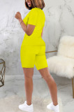 Pure Color Casual Short Sleeve V Neck Tee Top Shorts Sets SMR9658