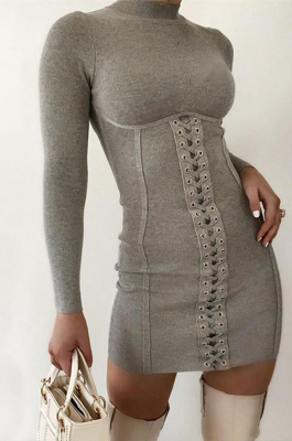 Sexy Sporty Simplee High Neck Long Sleeve knotted Strap Spliced Mini Dress