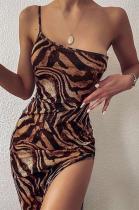 Elegant Sexy Leopard One Shoulder Split Hem Long Dress