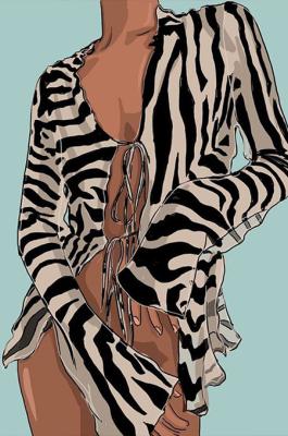 Glamorous Sexy Self Belted Scoop Neck Mesh Long Sleeve Crop Tops