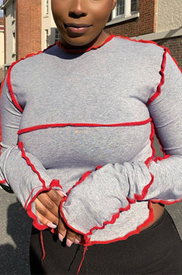 Casual Sexy Long Sleeve Round Neck Spliced Crop Tops