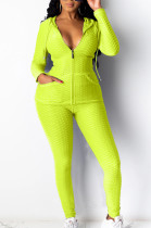Casual Sporty Polyester Pure Color Zipper Front Long Sleeve Hoodie Long Pants Sets X9261