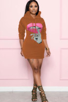Casual Polyester Mouth Graphic Long Sleeve High Waist OMY8080