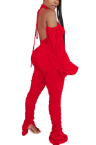 Sexy Night Out Spaghetti Strap Open Back Lantern Sleeve Pants Sets