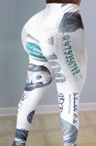 Sexy Dollar Graphic Mid Elastic Waist Yoga Pants