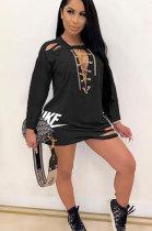 Casual Polyester Short Sleeve Mid Waist Mini Dress ML7371