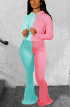 Casual Sporty Sexy Round Neck Long Sleeve Spliced Flare Leg Pants Sets