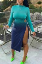 Sexy Simplee Long Sleeve High Neck Split Hem Long Dress
