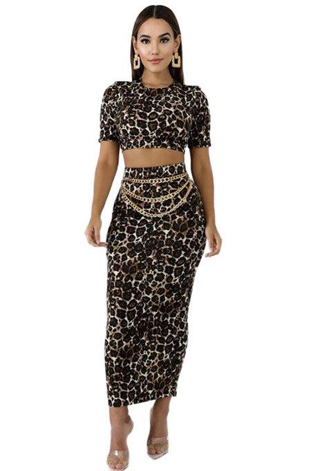 Boho Polyester Leopard Short Sleeve High Waist Long Dress KSN5053