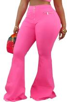 Sexy Pure Color Elastic Waist Flare Leg Pants