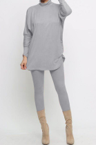 Casual Pure Color High Neck Batwing Sleeve Pants Sets