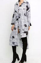 Casual Simplee Basics Paper Graphic Stand CollarLong Sleeve Midi Dress