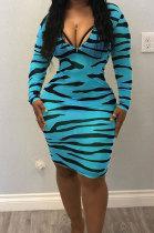 Zipper Long Sleeve Bodycon Zebra Print Pencil Dress YLY2316