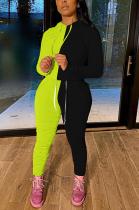 Sport casual contrast pleated suit