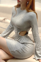 Aural side long sleeve round collar personalized hollow-out wrap buttock slim dress