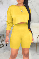 Pure Color Casual Short Sleeve Round Neck Crop Top Shorts Sets SMR8303