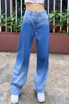 High waist show thin gradient loose wide leg pants casual versatile jeans